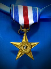 Silver Star on Blue Velvet